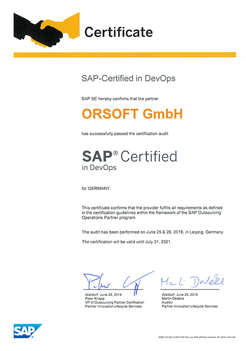 ORSOFT is SAP Certified in DevOps
