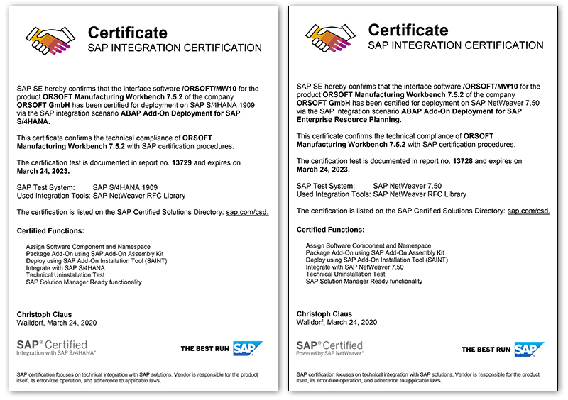 SAP certificates ORSOFT interfaces 2020